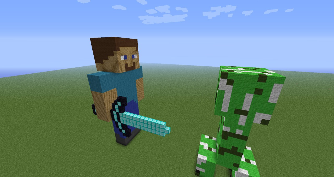 Creeper vs steve minecraft project - Minecraft creeper and steve ...