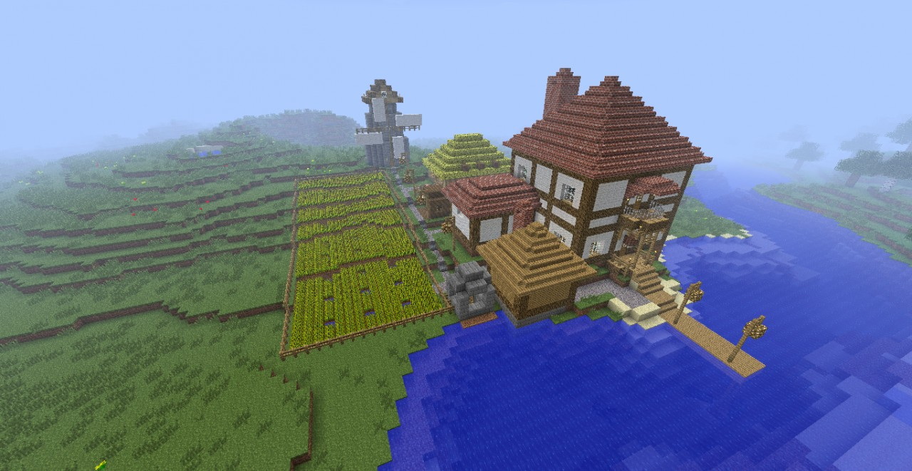 House Near River With Farms Minecraft Project