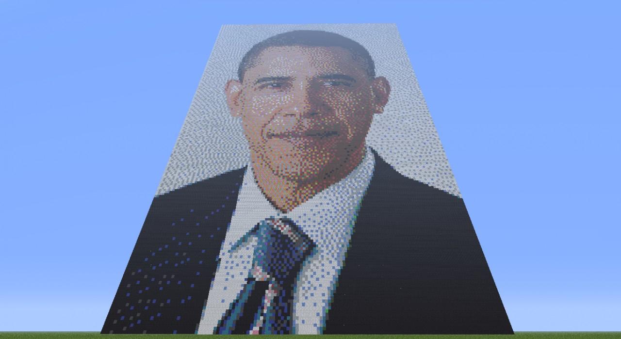 Barack Obama Pixel Art Minecraft Project