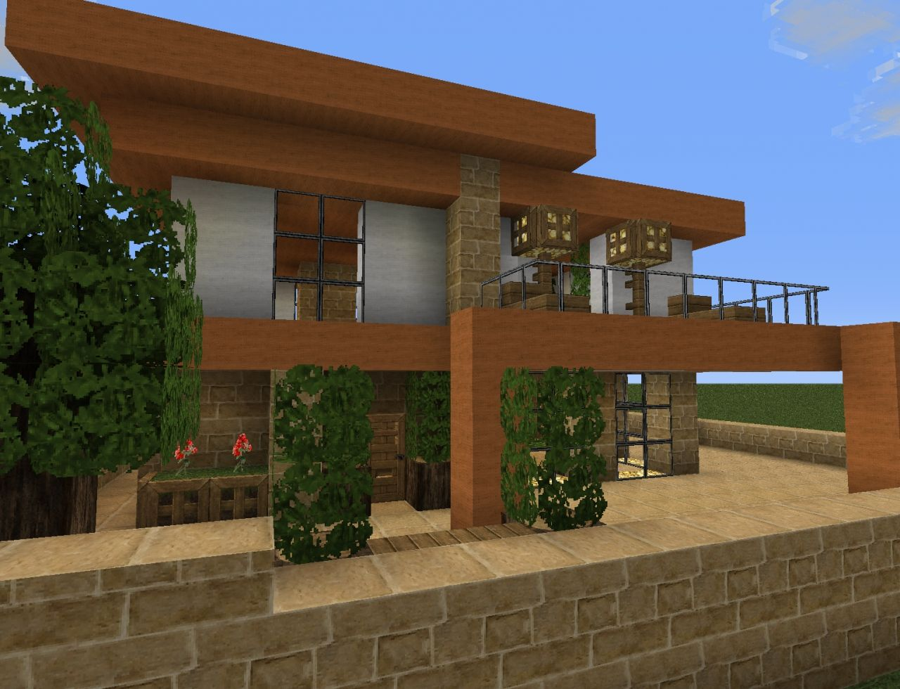 Small modern house minecraft project for Modern house minecraft pe 0 12 1