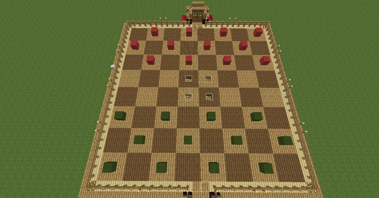 Checkers chess board in minecraft multi player compatible v1 minecraft project - Multi level chess board ...
