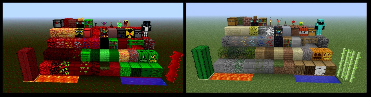 Left: Marscraft Right: Default Minecraft