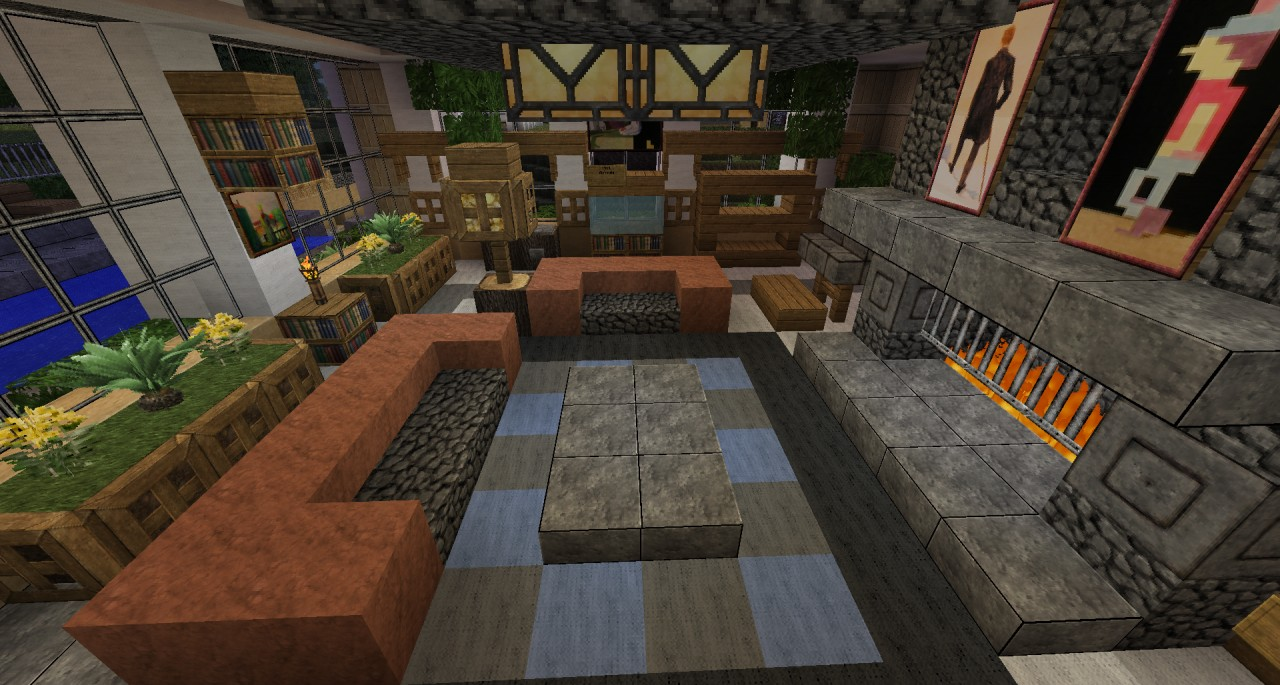 Minecraft living room tv images Living room furniture minecraft
