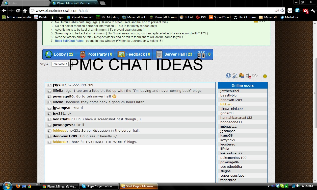 PMC Chat Room Ideas Minecraft Blog
