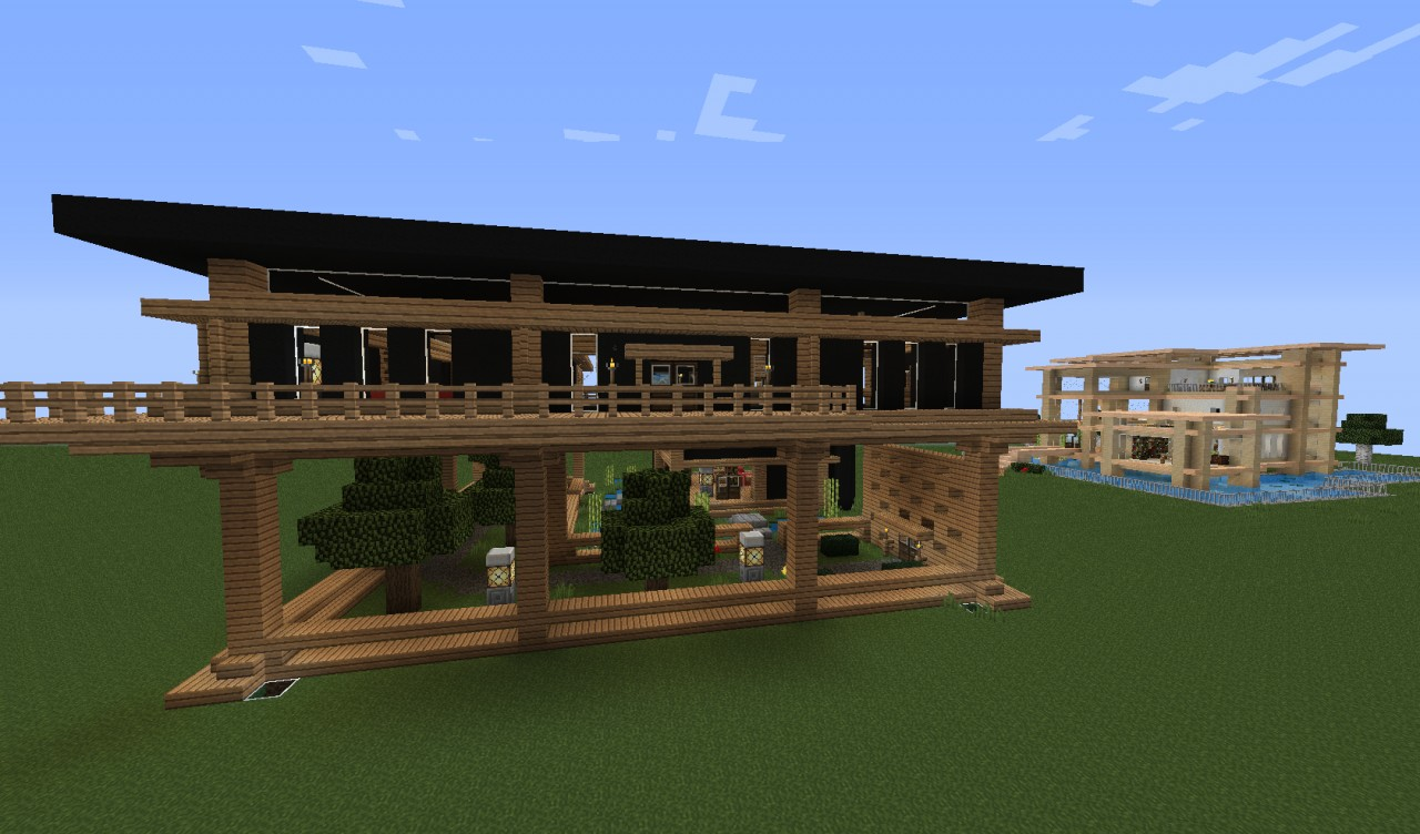 elevated modern home with garden minecraft project