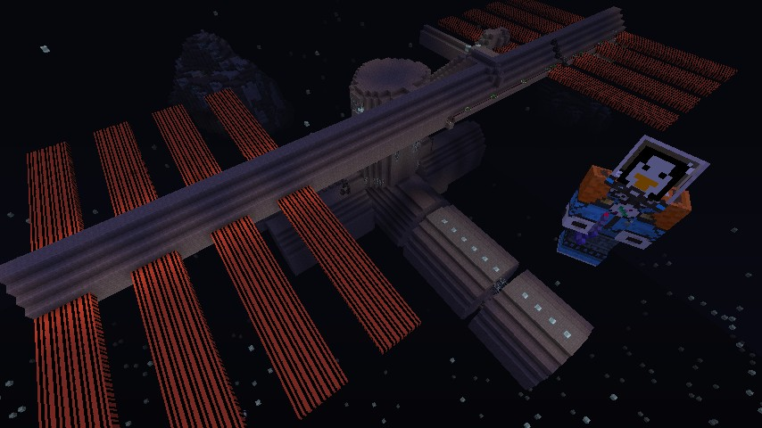 Iss international space station v45 in spaacceee minecraft project the iss with an asteroid in the background and me next to it gumiabroncs Images