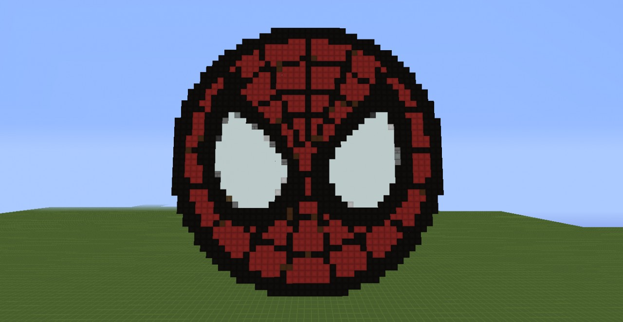 Spiderman Logo Pixel Art Schematic Minecraft Map