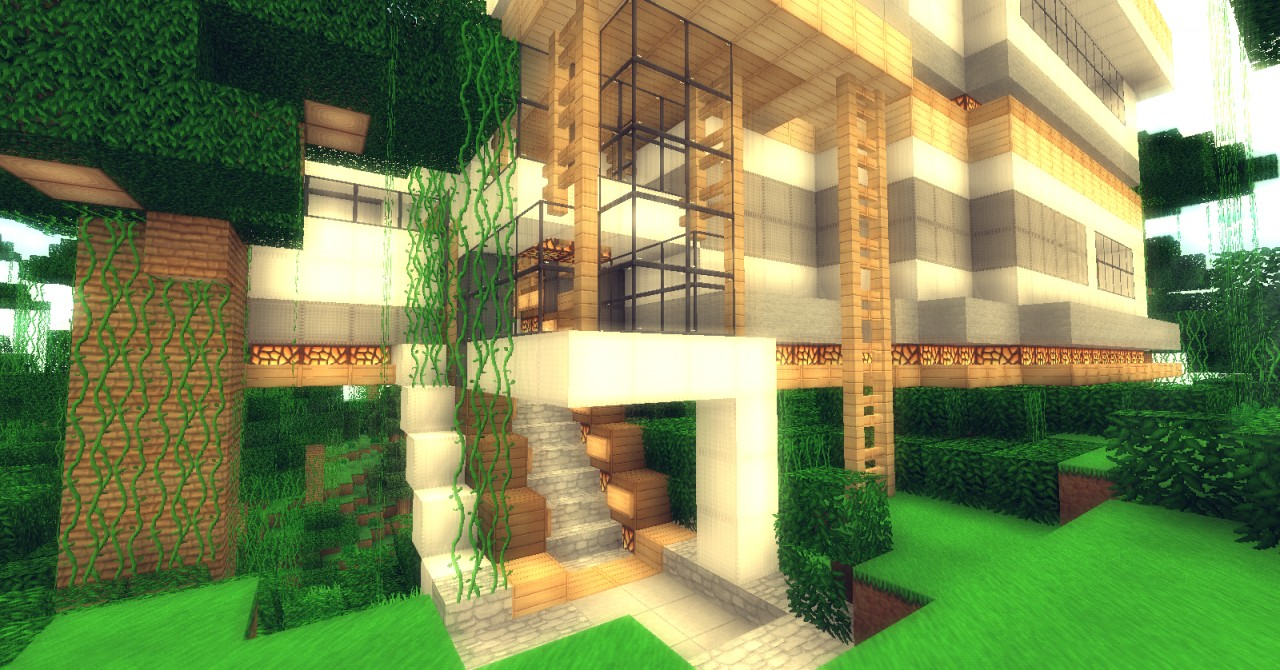 Jungle Modern House Full Furnished Minecraft Project