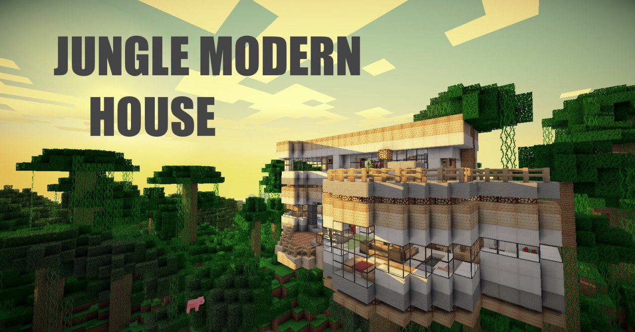 Jungle Modern HouseFULL FURNISHED Minecraft Project - Modern house jungle