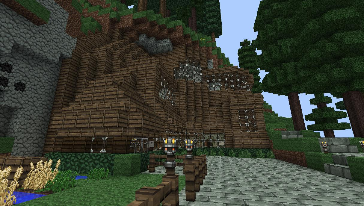 Wooden mountain side house minecraft project for How to build a house in a mountain