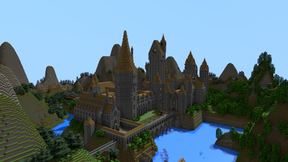 View of the castle from hogsmeade (mountains redone as unrealistic :( )
