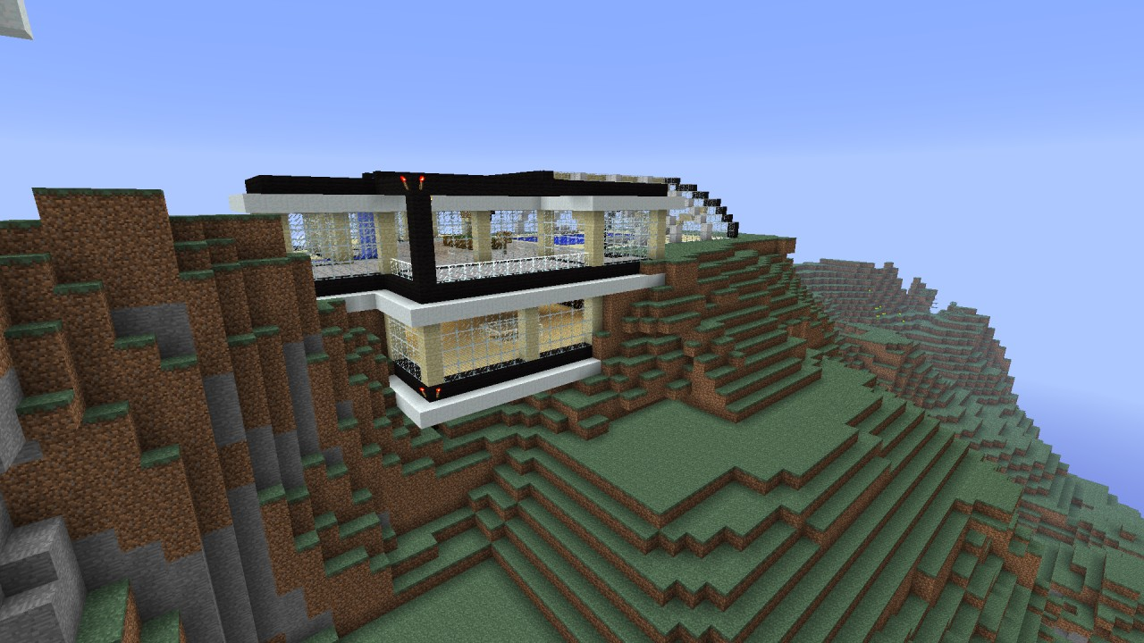 Design of the modern house on the hill minecraft project for Modern house on hill