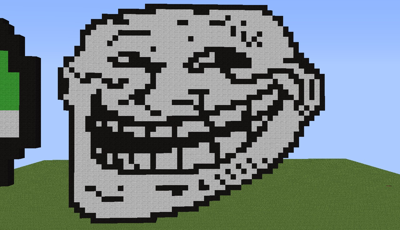 Minecraft Pixel Art Grid Troll Face Pixel art part.1 by Ni...