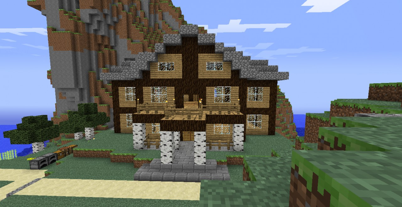 Wooden villa minecraft project - Minecraft villa ...