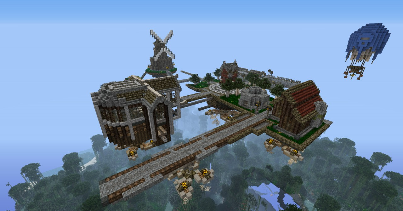 Skyport A Small Steampunk Town Minecraft Project