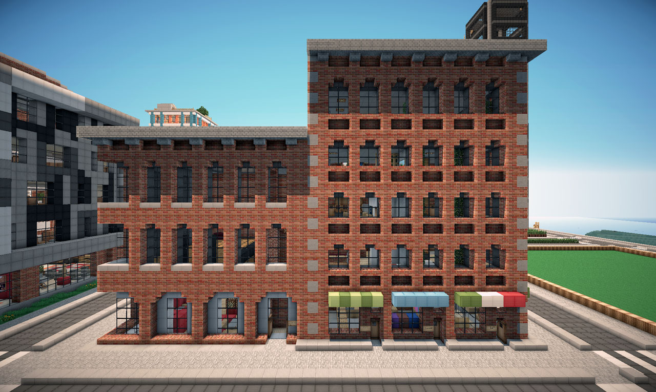 Brick Apartment Building new york brick buildings on world of keralis minecraft project