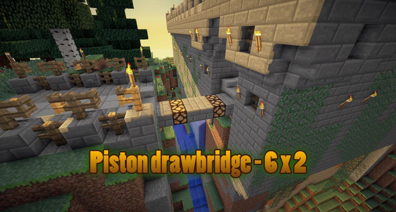 Piston drawbridge - 6 x 2 Minecraft Project:Minecraft- Flush Compact 2x1 Piston Door Tutorial - YouTube