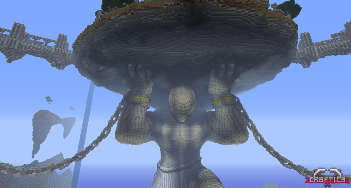 The Titan chained down in place, holding the main island aloft.