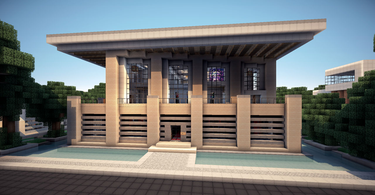 Modern house on world of keralis minecraft project for Modern house schematic