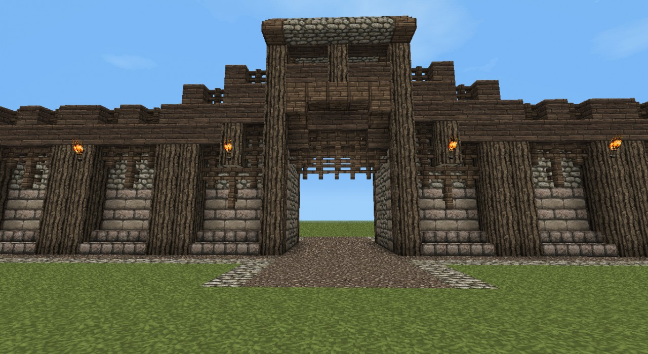 Minecraft Wall Designs Detailed medieval wall +