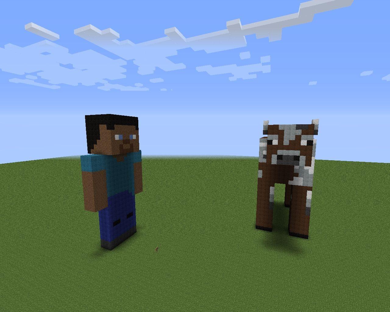 Steve Bleeding Steve Running Steve And Cow Added 3d