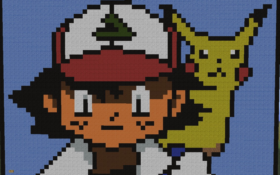 Ash And Pikachu Pixel Art Minecraft Project