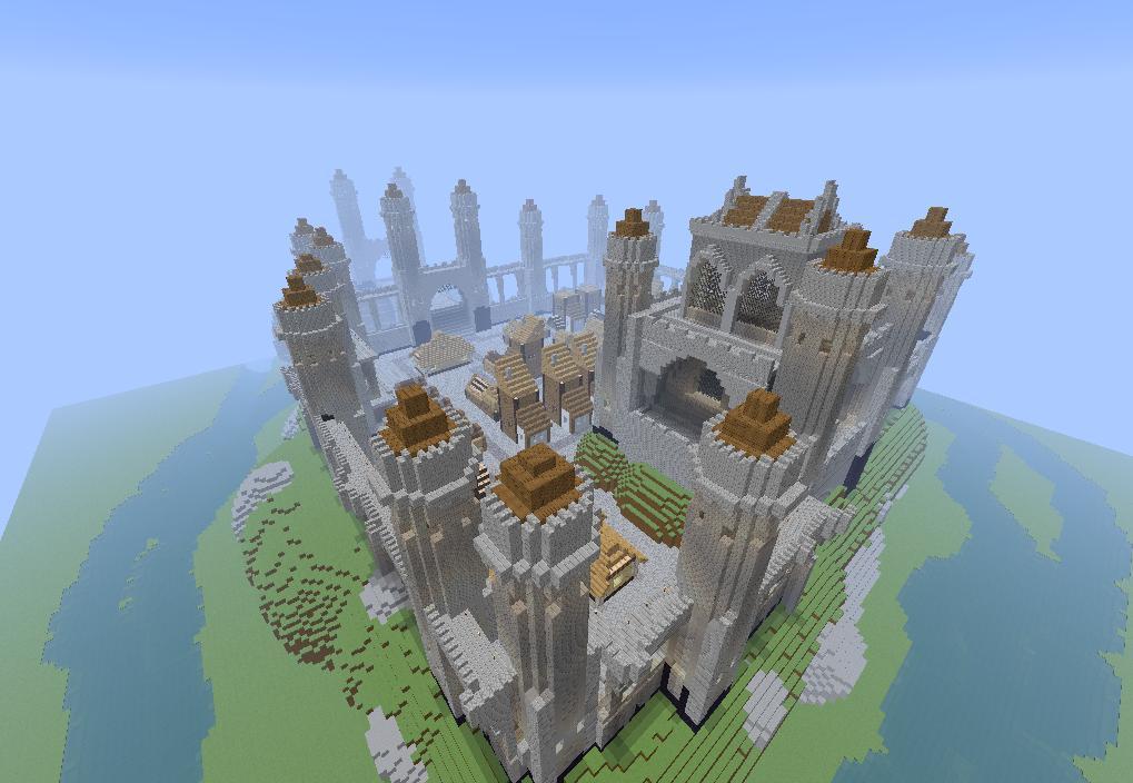 Проработаный средневековый замок в майнкрафт карты