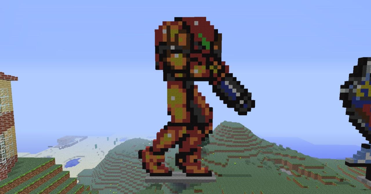 samus pixel art minecraft project