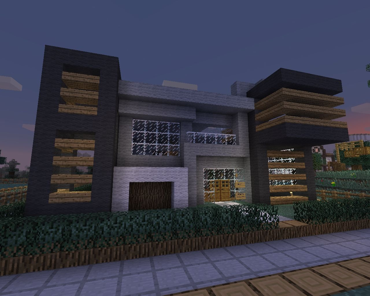 Modern house with some wood minecraft project for Modern house xbox minecraft
