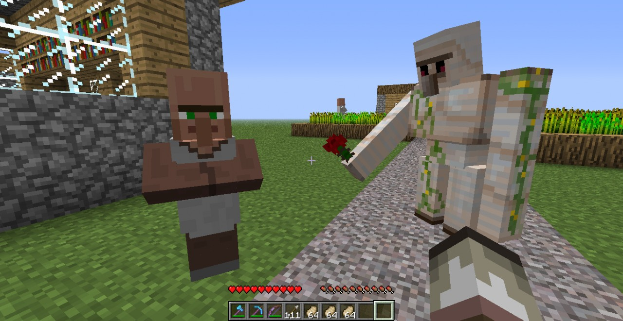 how to make an iron golem give you a rose