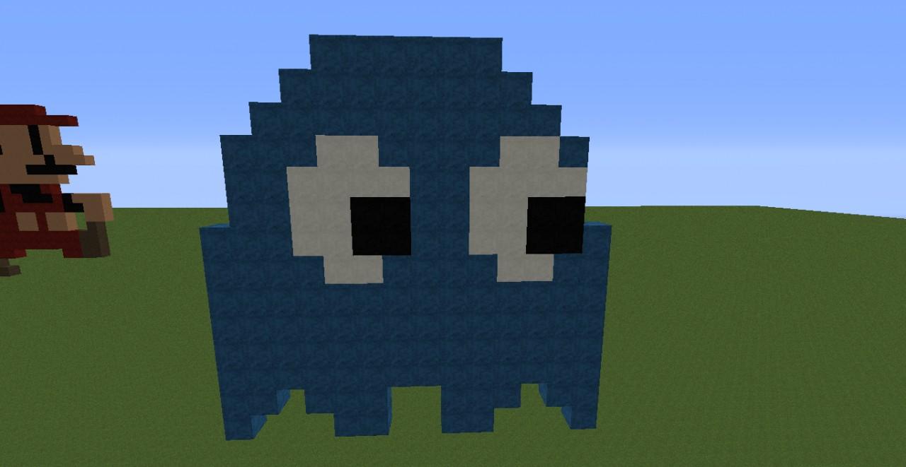 Pixel Art: Blue Pacman Ghost Minecraft Project