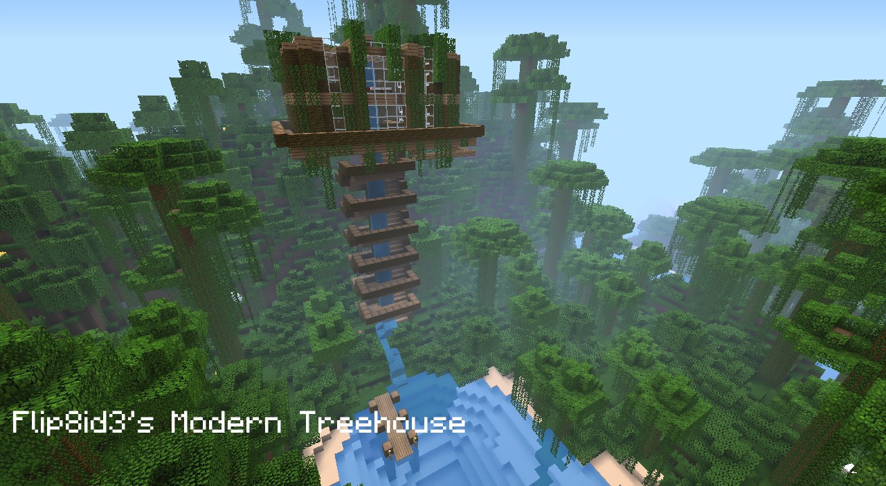 Modern Tree Houses Modern Treehouse Minecraft Project