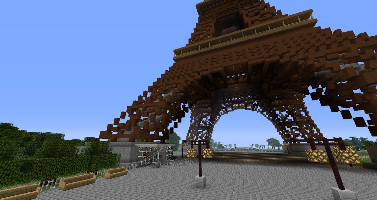 Eiffel Tower Over 210 Blocks Height Minecraft Project