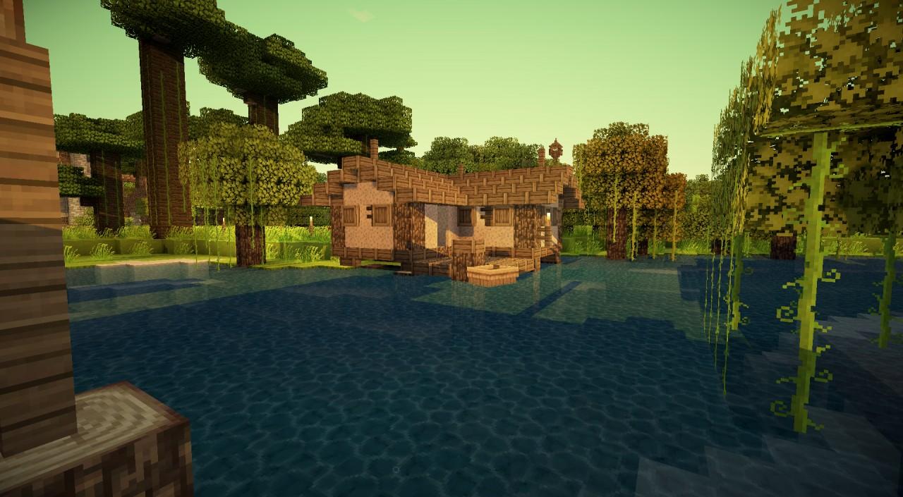 minecraft fishing house - 1280×705