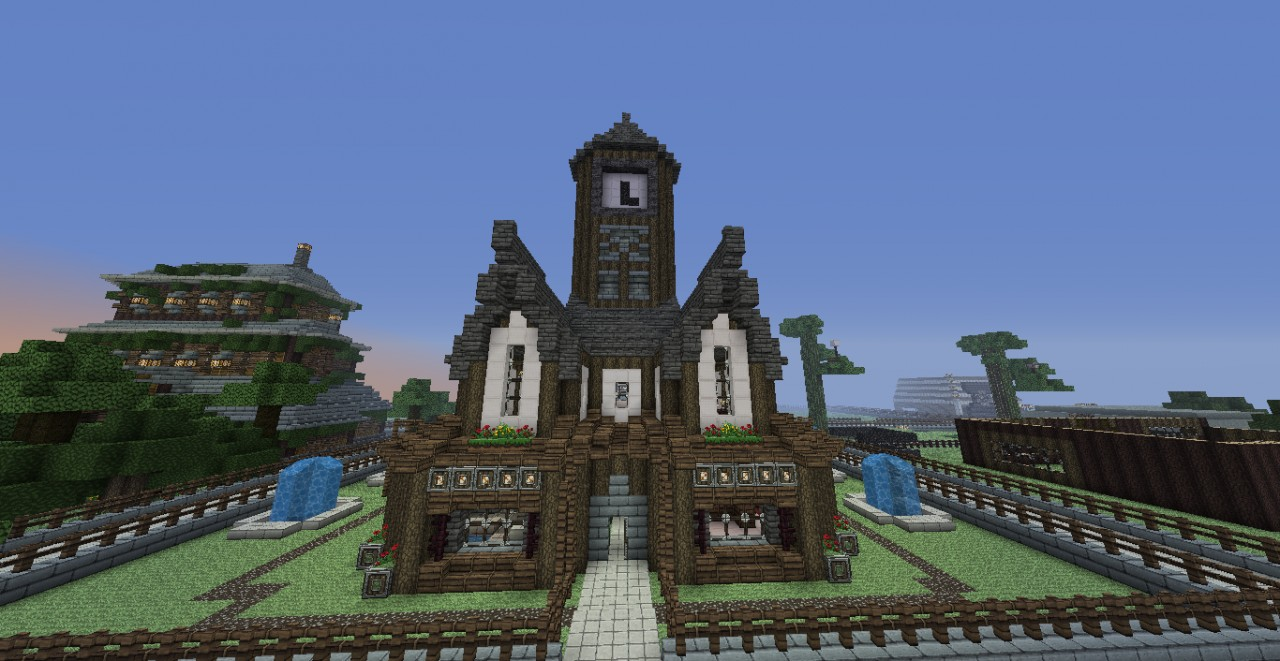 Medieval House With Clock Tower Amp Garden Minecraft Project