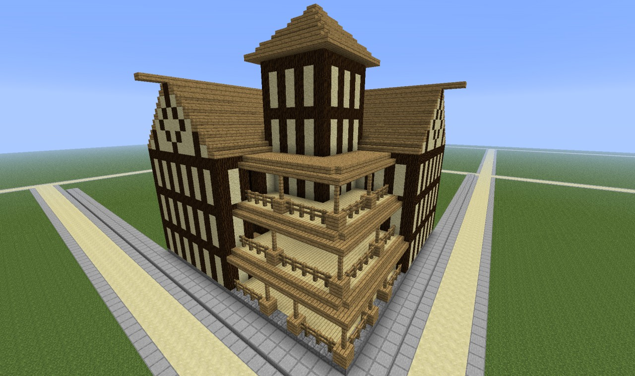 Tudor style corner mansion is representative of the style and types of buildings to populate the spawn city