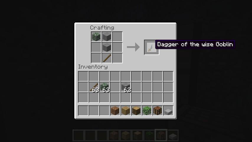 Recipe for Dagger of the wise Goblin