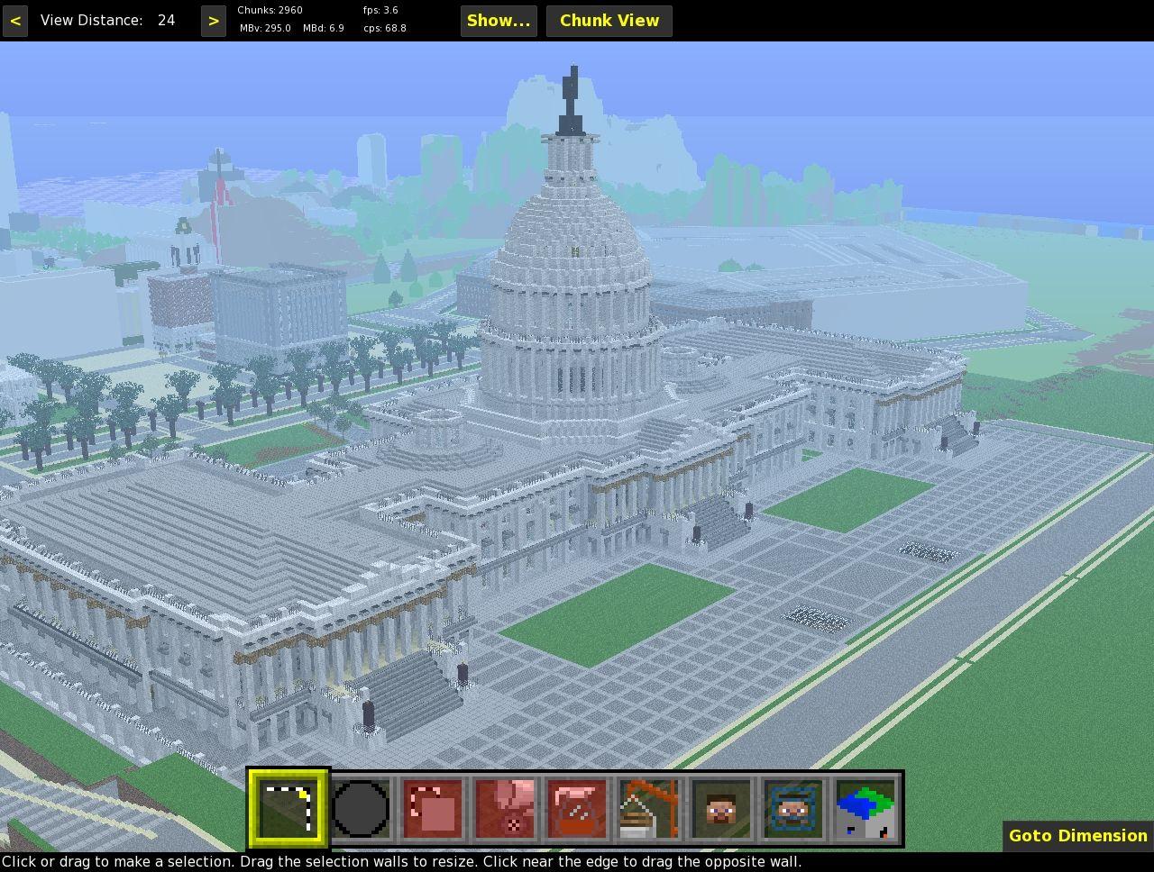 MCEdit screenshot: Capitol with the Pentagon