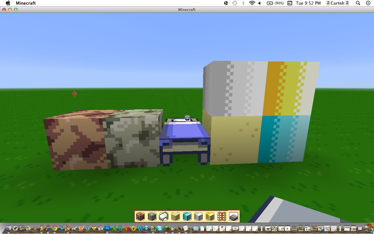 Cobble, stone, bed, sand, iron, gold and diamond