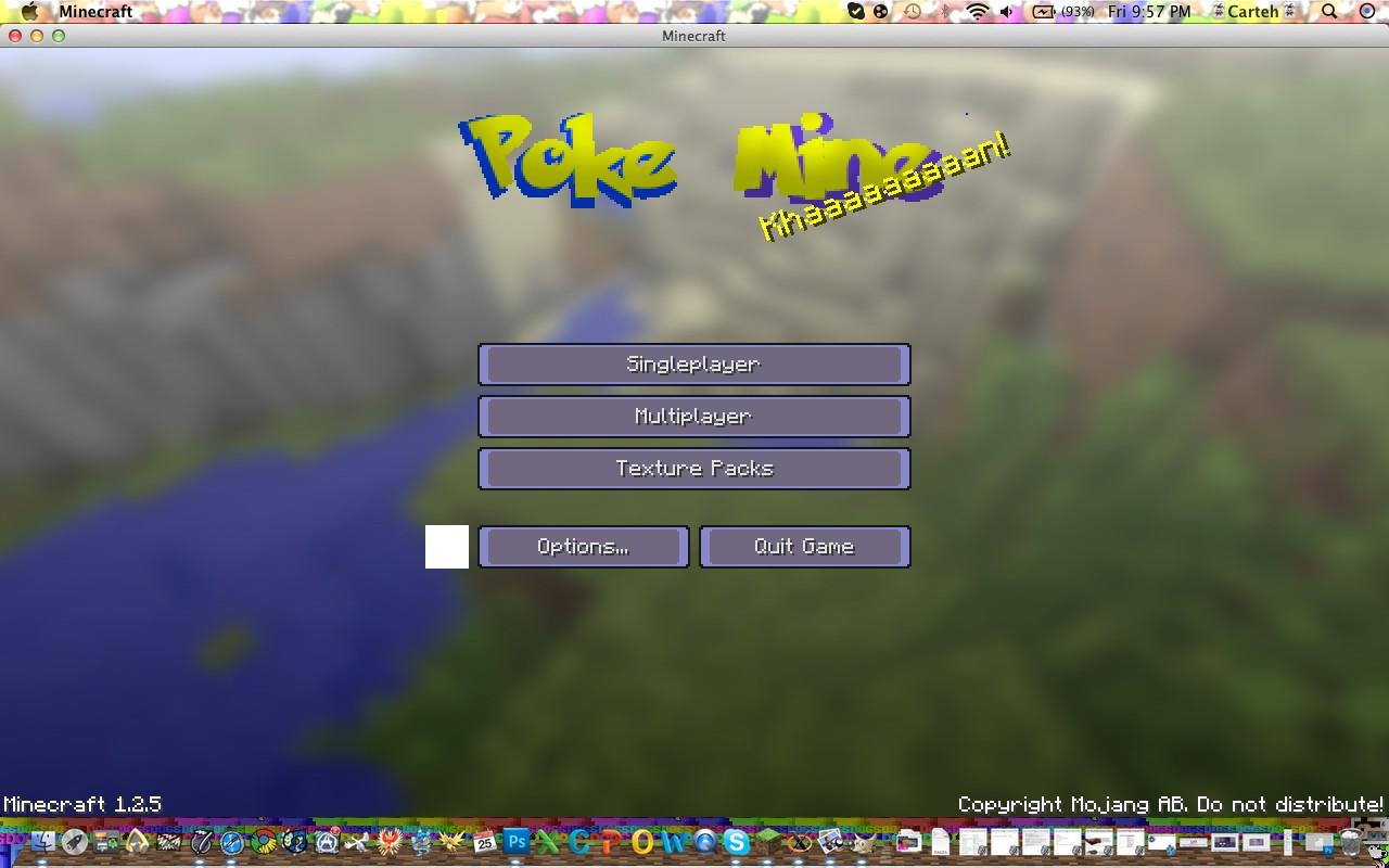 The main menu, Poke Mine text