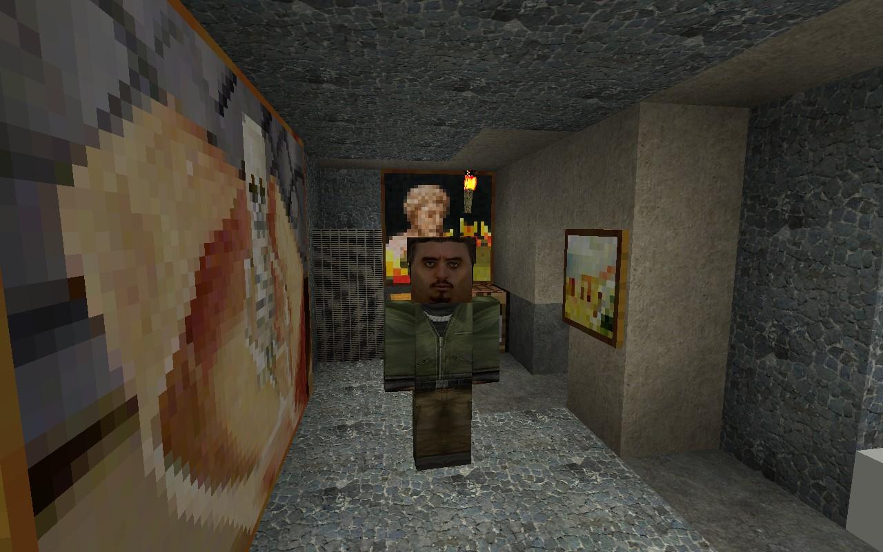 Default skin is the Terrorist Elite from Counter Strike: Source.