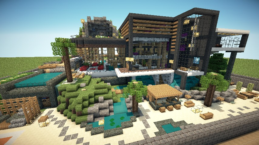 Luxurious modern house the classic modern housing in for Minecraft modern house 9minecraft