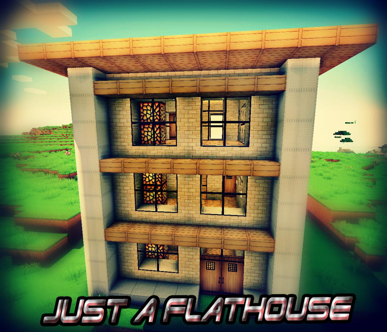 Minecraft Simple Modern House Designs: Just A Flathouse With Simple Design! Minecraft Project