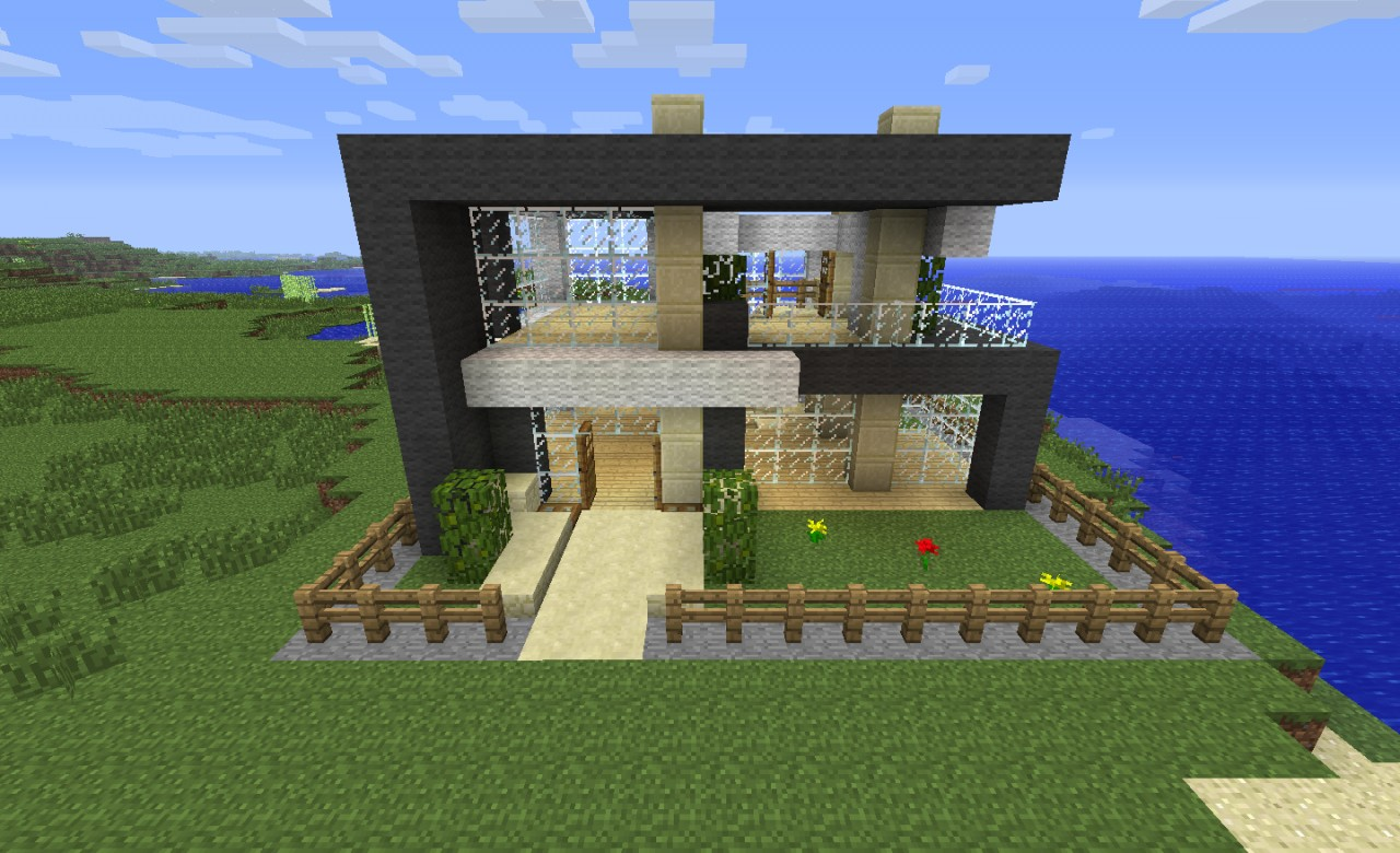 Modern house 16x16 minecraft project for Home designs minecraft