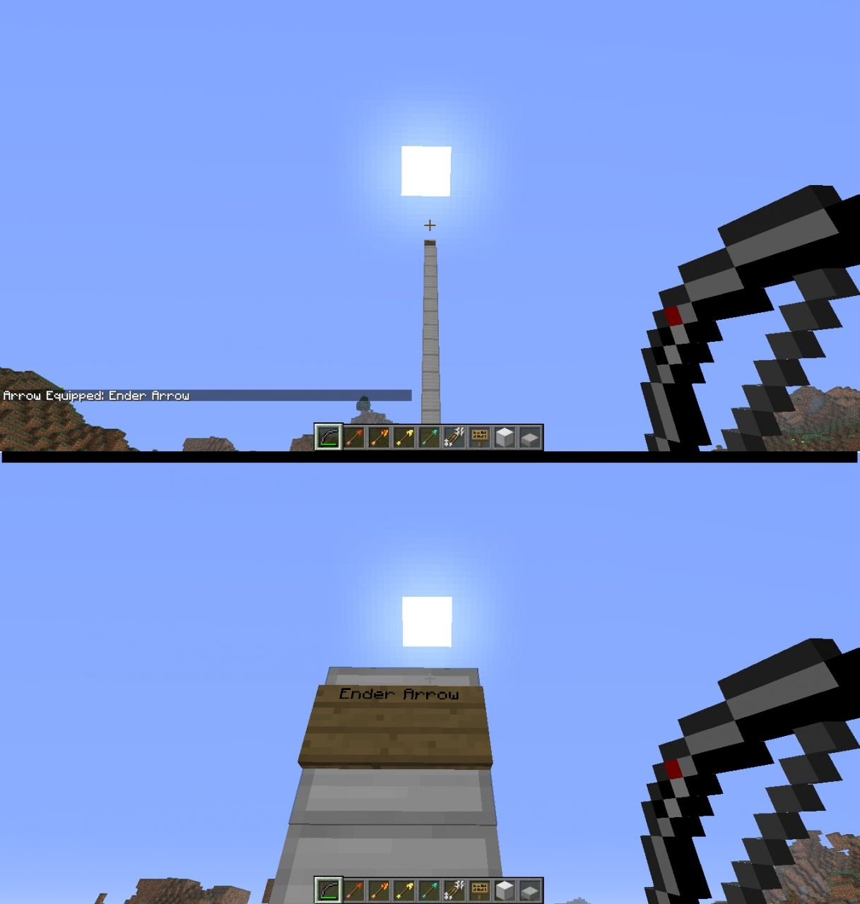 Ender Arrow. Above shows before shot. Below shows after.