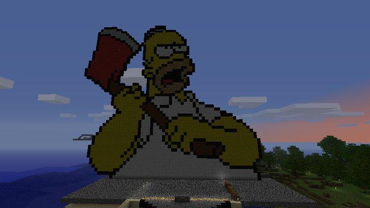 Hommer Simpson Pixel Art Minecraft Project