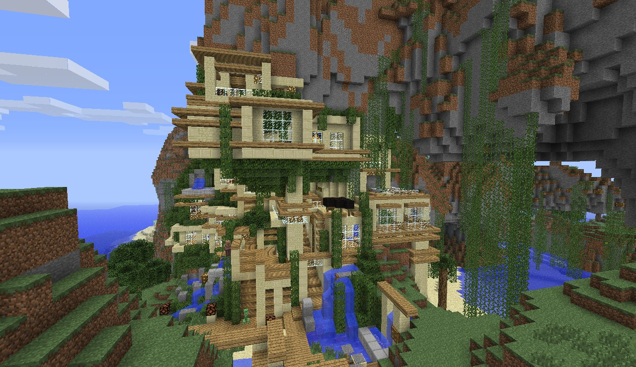 Modern House Cliff Mountain Minecraft Project