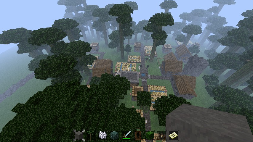The village...completely surrounded by huge jungle trees.