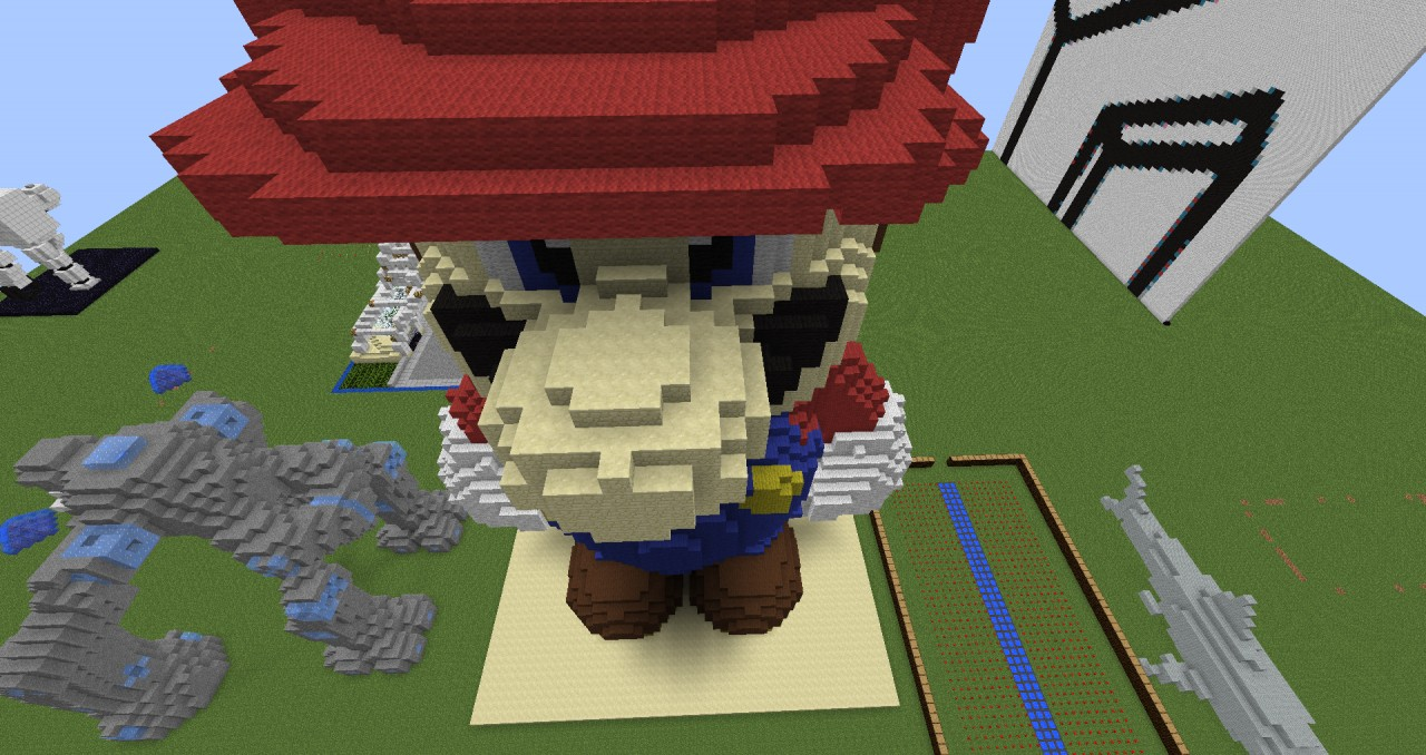 Giant Mario Guardian Statue And Companion Cube Minecraft