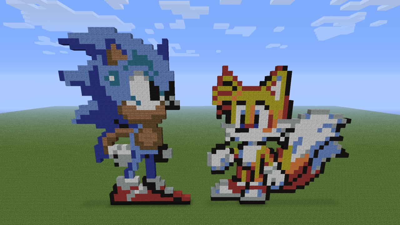 Sonic Tails Pixel Art Minecraft Map